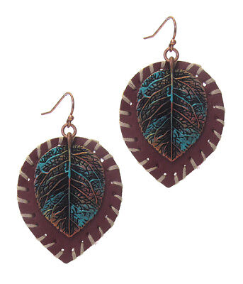 Color Patina Metal Earring (Vintage Style Rustic Metal Brown Leather Earring Leaf Patina Gold Colored )