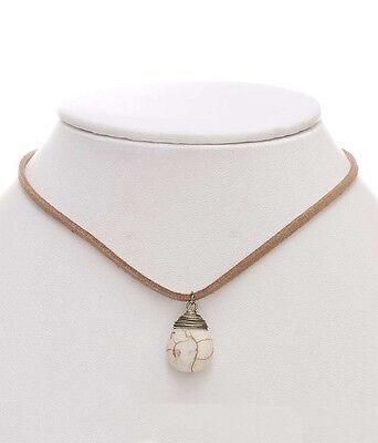 CHOKER Brown Leather White Semi Precious Wire Wrap Stone Necklace ()