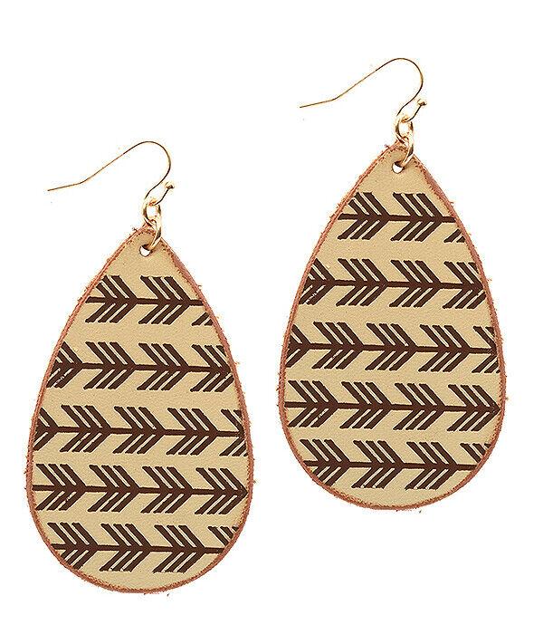 Stamped Leather Teardrop Earring Aztec Arrows brown Drop Dan