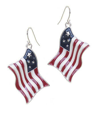 Patriotic American Flag Earring Drop Dangle Red White Blue Wave Flag](Patriotic Jewelry)