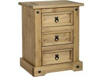 Corona Pine 3 Drawer Bedside Cabinet Brand New Ex Display