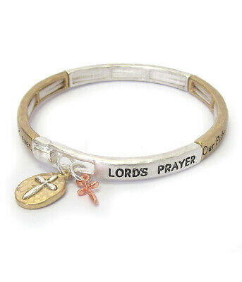 LORD'S PRAYER Inspirational Religious Two Tone Bangle Bracelet Silver NEW - Inspirational Prayer