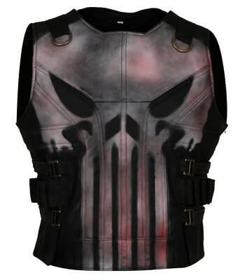 Men's Punisher Season 2 Skull Frank Castle Motorcycle Black Leather Vest Costume (Seasonal Costumes)