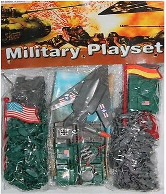 Micro Mini Military Playset   plastic army men and tanks, planes, toy  blue/gray
