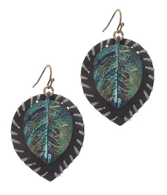 Color Patina Metal Earring (Vintage Style Rustic Metal Black Leather Earring Leaf Patina Gold Colored )