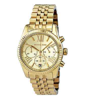 New Michael Kors Lexington Gold Stainless Steel Chronograph MK5556 Women's Watch