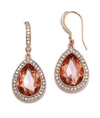 Copper Crystal Earrings -  EARRINGS Teardrop Facet Glass & Crystal Copper Tone Clear Orange Party Earrings