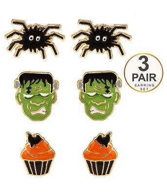 EARRINGS HALLOWEEN THEME 3 Pair Earring Set Spider Frankenstein Pierced Ears](Female Frankenstein Halloween)