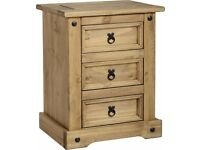 Corona Pine 3 Drawer Bedside Table Cabinet Brand New Assembled