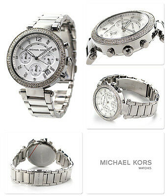 NEW MICHAEL KORS MK5353 SILVER 'SWAROVSKI' WHITE DIAL WOMEN'S WATCH UK