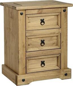 3 Drawer Pine Bedside Cabinets