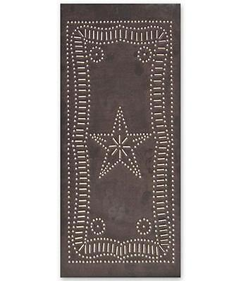 Country new handcrafted Blacken punched tin star cabinet panel / (Country Punched Tin)