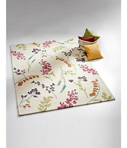 Hochflor-Teppich Läufer 100% Schurwolle Handgetuftet Bunt 70x140 cm