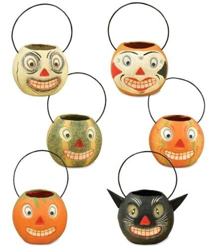 6 Bethany Lowe Vintage Style Halloween Mini Pumpkin JOL Cat Containers Buckets