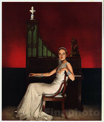 1935 Vintage FEMALE FASHION Ryan Music Piano Photo Art Deco ~ RUZZIE GREEN 11x14