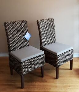 Set of Woven Armless Chairs