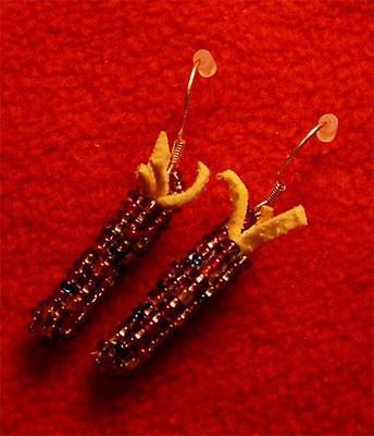 Wonderful Beaded Purple Corn Sterling Silver Earrings - Native American Indian