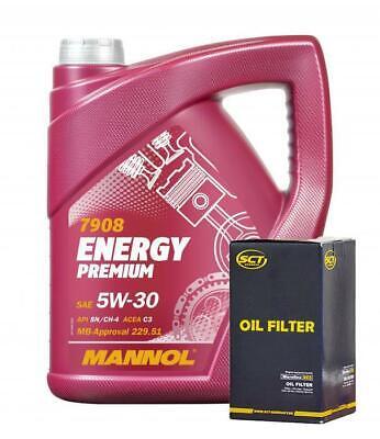 5L 5w-30 Long Life Engine Oil + Oil Filter for Peugeot Partner 2008-2019 1.6HDI