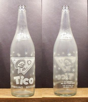 Tico Sparkling Beverage Vintage ACL 24 ounce Soda Pop Bottle Columbus Ohio 383