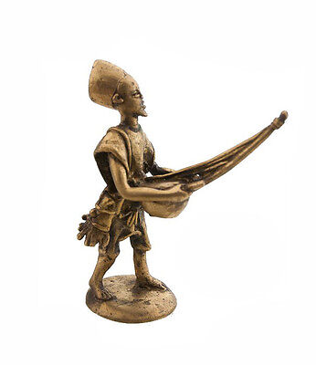 Statue Musician in Brass Player of Kora Art Bronze & African AA795
