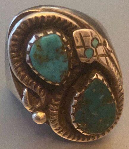Stunning Early Zuni Nieto Family Ring Snake Blue Gem & Morenci Turquoise Sz 10
