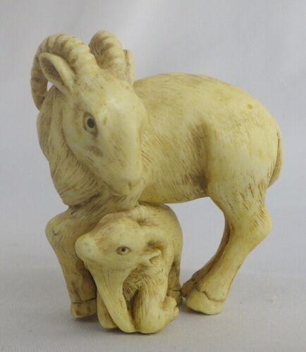 Resin Netsuke Goat and Baby