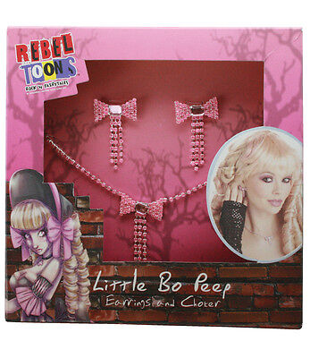 LITTLE BO PEEP JEWELRY SET Pink Bow Earrings Choker Costume Adult Women NEW](Little Bow Peep Costume)
