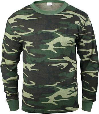 - Woodland Camouflage Cold Weather Thermals Knit Underwear Shirt Top Long Johns