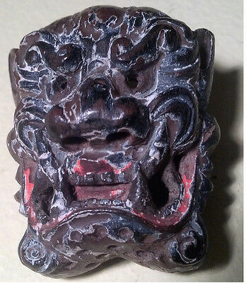 Antique, Japanese, Fine Art, Wooden, Netsuke, Gigaku Mask - Mennetsuke