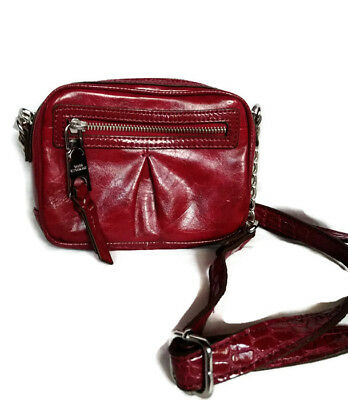 DANA BUCHMAN Red Faux Patent Leather Little Cross Body Bag Shoulder Croco Chain (Croco Chain Patent Leather)