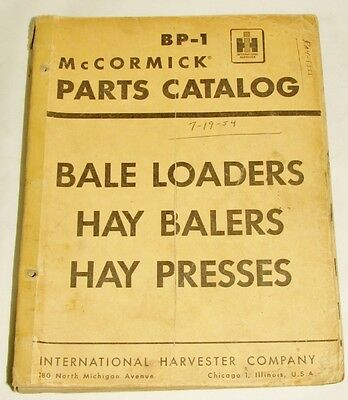 IH BP1 McCormick Bale Loaders Hay Blenders Hay Presses Parts Catalog