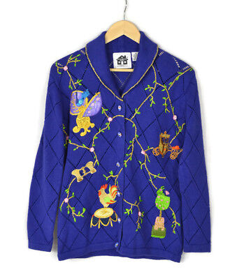 New! STORYBOOK KNITS Blue Embroidered Fairy Tale Cardigan Sweater Size XS Women
