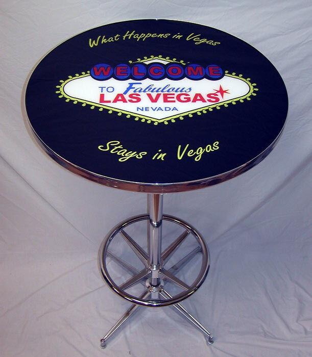 What Happens in Vegas Sign Black Pub Table