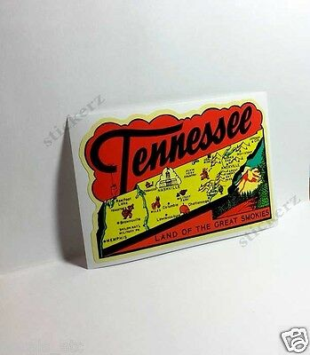 Tennessee Great Smokies Vintage Style Travel Decal, Vinyl Sticker, Luggage Label