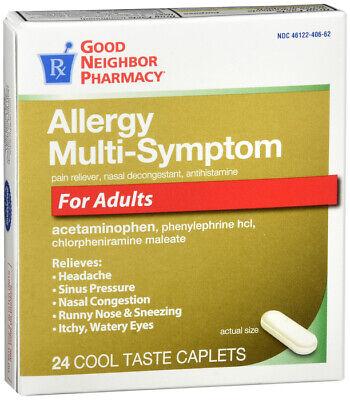 GNP ALLERGY MULTI SYMPTOM FOR ADULTS CAPLETS  24CT  SAME FORMULA AS (Allergy Caplets)