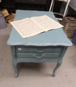 Shabby Chic Painted Side Table - Blue Jar Antique Mall