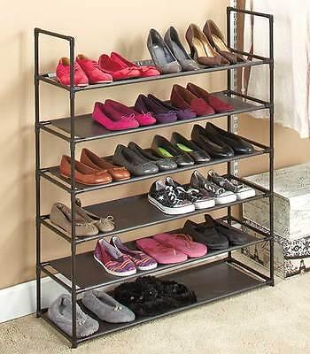 6 Tier Storage Shoe Rack 24 Pair Shoes Organizer Stackable Space Saving Shelves