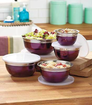 10-Pc Set Purple Mixing Bowls w/ Lids Stainless Steel Whisk Mix Serving Storage