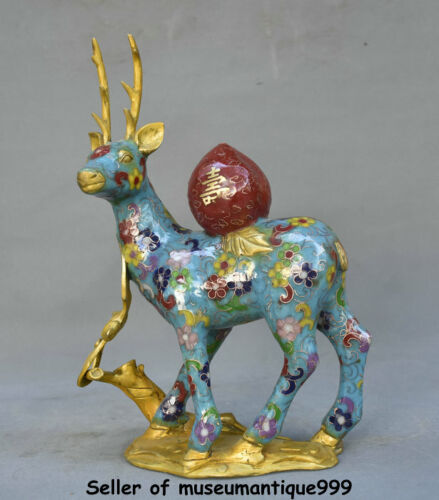 "11.6"" Marked china Cloisonne copper Feng shui Fu shou peach deer statue pair"