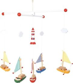 Wooden boats colourful mobile for baby/child's room
