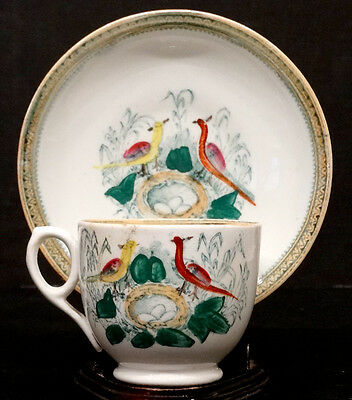 1800's ANTIQUE Vintage MAASTRICHT Porcelain China HAND PAINTED BIRD Cup & Saucer