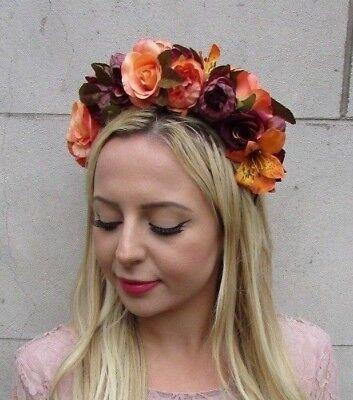 Burgundy Orange Autumn Flower Headband Hair Crown Floral Garland Halloween 6337