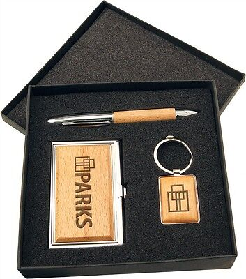 Personalized Business Card Holder Pen, Key Tag and Case Wood Gift Set (Personalized Business Pens)