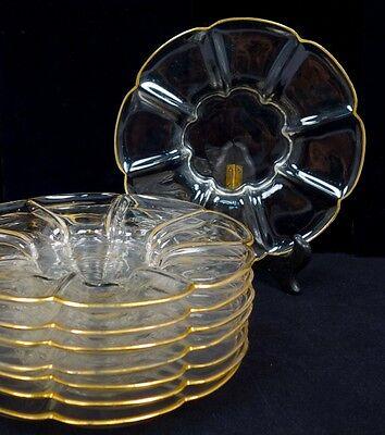 Antique c1900 Exceptional Set 8 Blown Glass Gilded Art Glass Dessert Plates