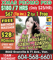 Buy one get one Free,$28/90Mins,Best Chinese Massage