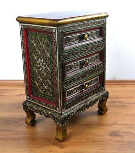 Handmade Asian Chest of Drawers, Glass Mosaic Look, Thai Furniture
