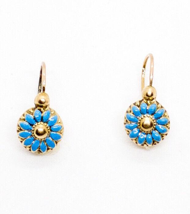 Antique French Enamel Petite Pierced Flower Earrings 18k Yellow Gold