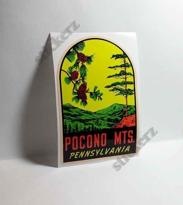 Pennsylvania Pocono Mts Vintage Style Travel Decal / Vinyl Sticker,Luggage Label