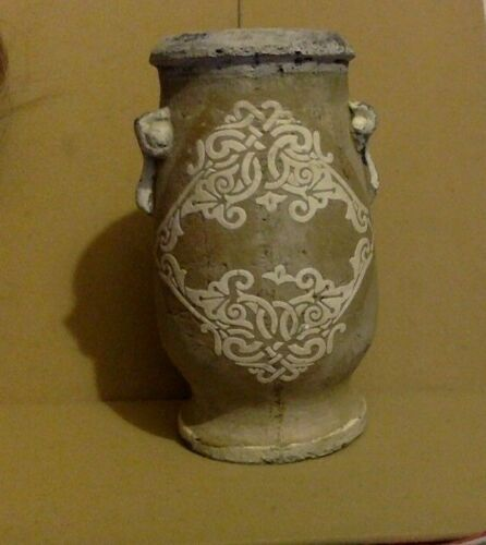 Antique Clay Vase. Off White design on Front & Back. 1800