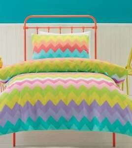 Gelati Pastel Pink Yellow Green Purple Zig Zags Double Bed Quilt Doona Cover Set Ebay